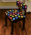 Arrow Black Sewing Chair with Scalloped Base Buttons on Black