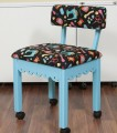 Arrow Blue Sewing Chair with Scalloped Base Sewing Notions on Black
