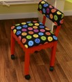 Arrow Red Sewing Chair with Scalloped Base Buttons on Black